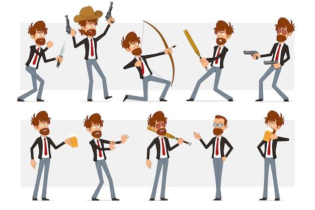 Carattere dell'uomo d'affari barbuto piatto divertente del fumetto in vestito nero e cravatta rossa. ragazzo che beve birra, sparando dalla pistola e dall'arco.