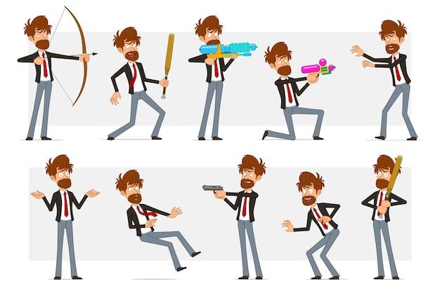 Carattere dell'uomo d'affari barbuto piatto divertente del fumetto in vestito nero e cravatta rossa. ragazzo che tiene la mazza da baseball, pistola, tiro dalla pistola ad acqua.