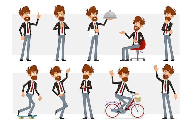 Carattere dell'uomo d'affari barbuto piatto divertente del fumetto in vestito nero e cravatta rossa. ragazzo che pensa, posa, cavalca su skateboard e bicicletta.
