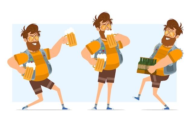 Personaggio di uomo piatto divertente hipster grasso barbuto del fumetto in farsetto di jeans e occhiali da sole. pronto per l'animazione. ragazzo che trasporta bottiglie, tenendo e bevendo birra. isolato su sfondo blu.