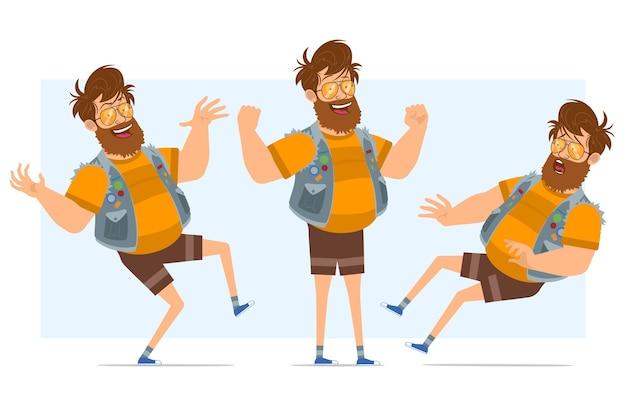 Personaggio di uomo piatto divertente hipster grasso barbuto del fumetto in farsetto di jeans e occhiali da sole. pronto per l'animazione. ragazzo che salta, che mostra i muscoli e che cade. isolato su sfondo blu.