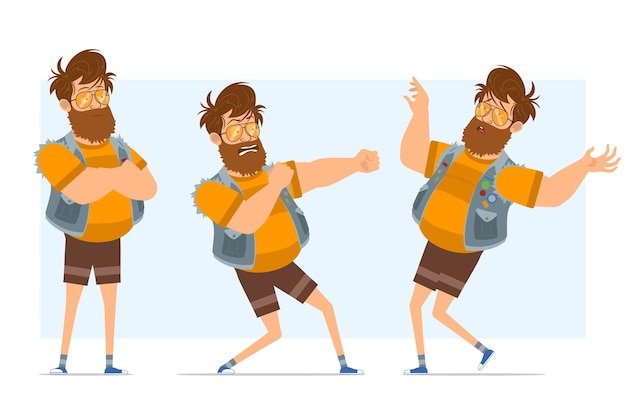 Personaggio di uomo piatto divertente hipster grasso barbuto del fumetto in farsetto di jeans e occhiali da sole. pronto per l'animazione. ragazzo pronto a combattere e ricadere privo di sensi. isolato su sfondo blu.