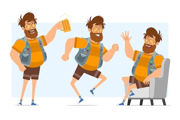 Personaggio di uomo piatto divertente hipster grasso barbuto del fumetto in farsetto di jeans e occhiali da sole. pronto per l'animazione. ragazzo che riposa, balla e tiene la birra. isolato su sfondo blu.