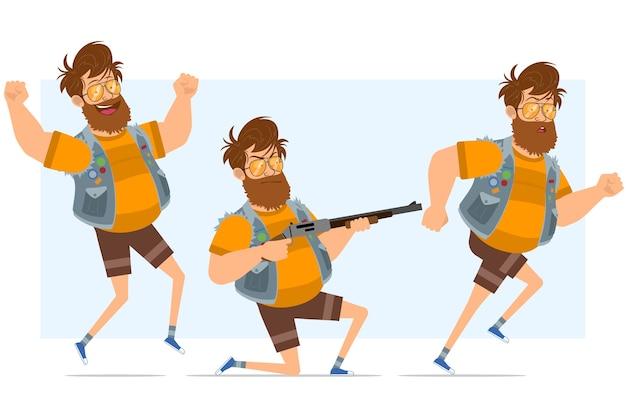 Personaggio di uomo piatto divertente hipster grasso barbuto del fumetto in farsetto di jeans e occhiali da sole. pronto per l'animazione. ragazzo che corre, salta e spara dal fucile. isolato su sfondo blu.