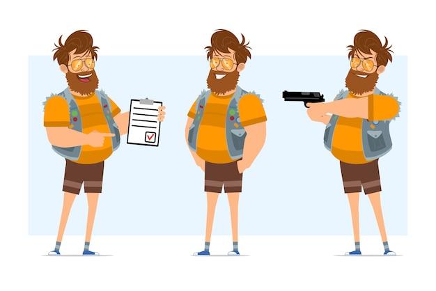 Personaggio di uomo piatto divertente hipster grasso barbuto del fumetto in farsetto di jeans e occhiali da sole. pronto per l'animazione. ragazzo che spara dalla pistola e mostra la lista delle cose da fare. isolato su sfondo blu.