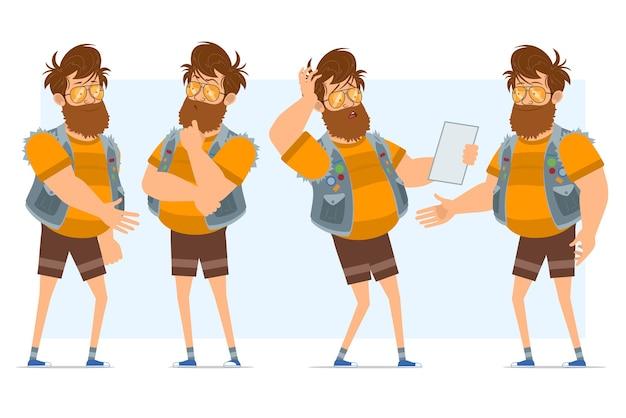 Personaggio di uomo piatto divertente hipster grasso barbuto del fumetto in farsetto di jeans e occhiali da sole. pronto per l'animazione. ragazzo che pensa, legge la nota e stringe la mano. isolato su sfondo blu.