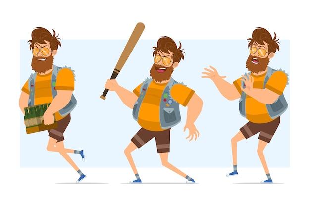 Personaggio di uomo piatto divertente hipster grasso barbuto del fumetto in farsetto di jeans e occhiali da sole. pronto per l'animazione. ragazzo con la mazza da baseball e in esecuzione con la birra. isolato su sfondo blu.
