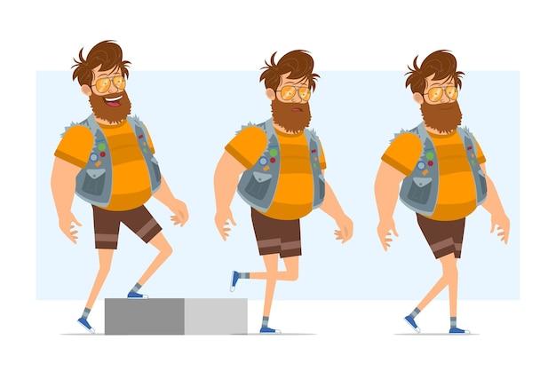 Personaggio di uomo piatto divertente hipster grasso barbuto del fumetto in farsetto di jeans e occhiali da sole. pronto per l'animazione. ragazzo di successo e stanco che cammina fino al suo obiettivo. isolato su sfondo blu.