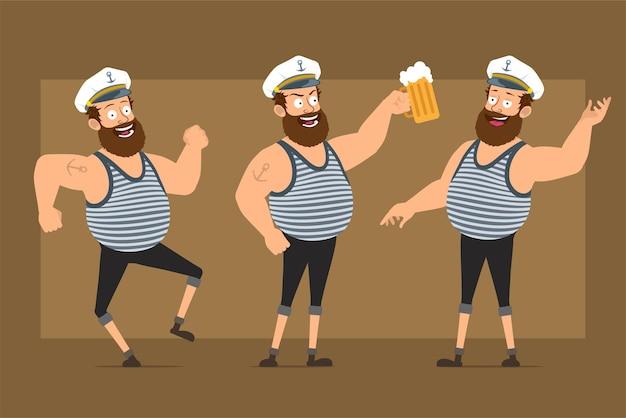 Carattere dell'uomo del marinaio grasso barbuto divertente piatto del fumetto in cappello del capitano con il tatuaggio. ragazzo che balla, beve e tiene il boccale di birra.