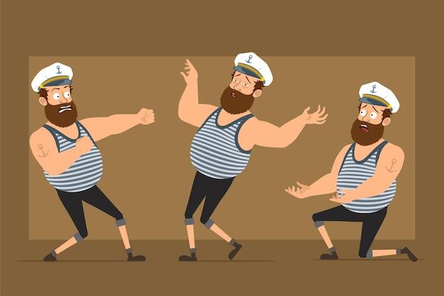 Carattere dell'uomo del marinaio grasso barbuto divertente piatto del fumetto in cappello del capitano con il tatuaggio. ragazzo che combatte, in piedi sul ginocchio e cade privo di sensi.