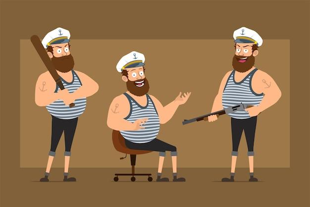 Carattere dell'uomo del marinaio grasso barbuto divertente piatto del fumetto in cappello del capitano con il tatuaggio. ragazzo che tiene la mazza da baseball e il fucile da caccia.