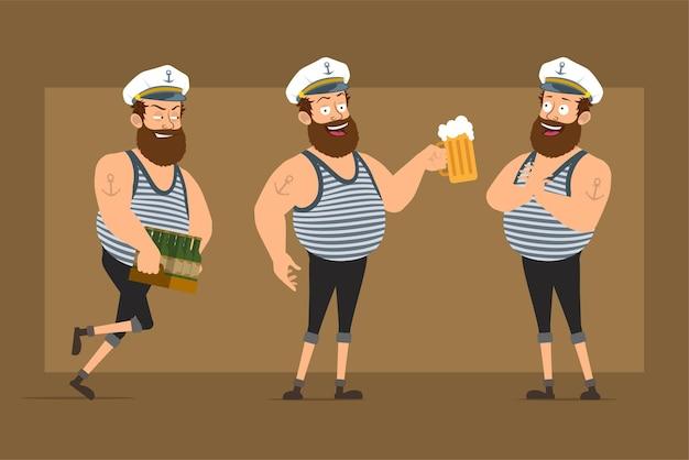 Carattere dell'uomo del marinaio grasso barbuto divertente piatto del fumetto in cappello del capitano con il tatuaggio. ragazzo che tiene boccali di birra e scatola di trasporto di bottiglie.