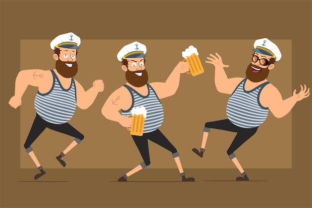 Carattere dell'uomo del marinaio grasso barbuto divertente piatto del fumetto in cappello del capitano con il tatuaggio. ragazzo che salta, balla e beve birra.