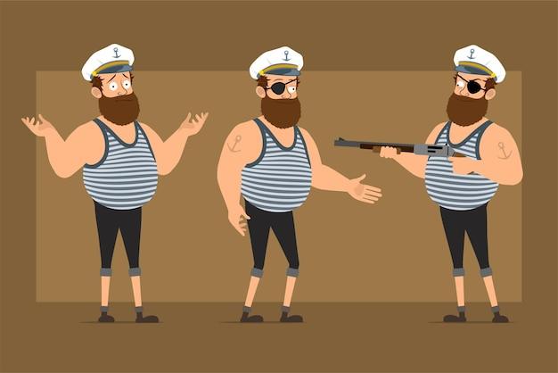 Carattere dell'uomo del marinaio grasso barbuto divertente piatto del fumetto in cappello del capitano con il tatuaggio. ragazzo che stringe la mano e spara dal fucile.