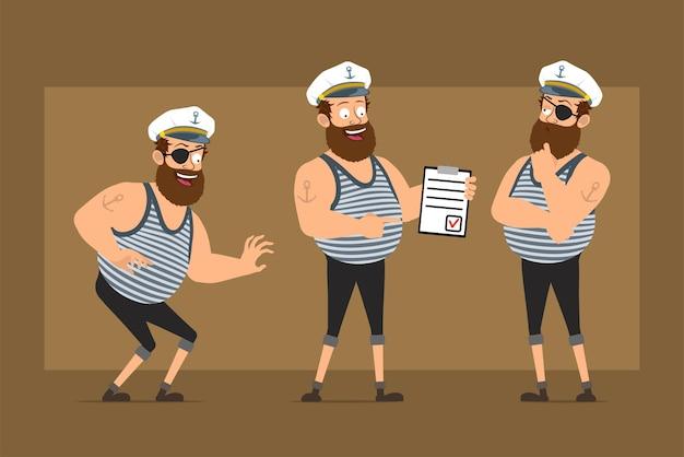 Carattere dell'uomo del marinaio grasso barbuto divertente piatto del fumetto in cappello del capitano con il tatuaggio. ragazzo che si intrufola, pensa e tiene per fare la lista con il segno.