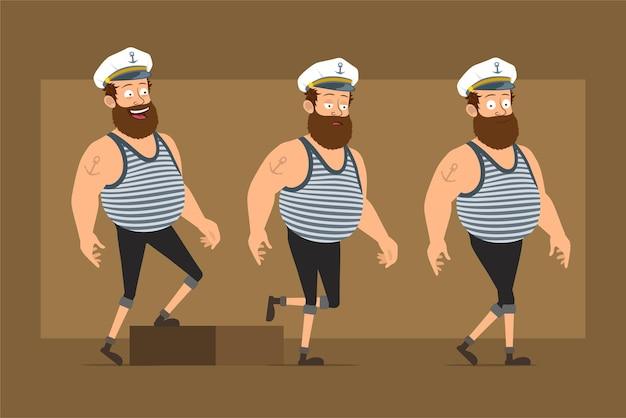 Carattere dell'uomo del marinaio grasso barbuto divertente piatto del fumetto in cappello del capitano con il tatuaggio. ragazzo stanco di successo che cammina fino al suo obiettivo.