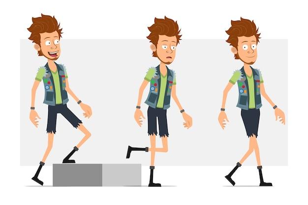 Personaggio di uomo piatto divertente hipster barbuto del fumetto in pantaloncini di jeans e farsetto