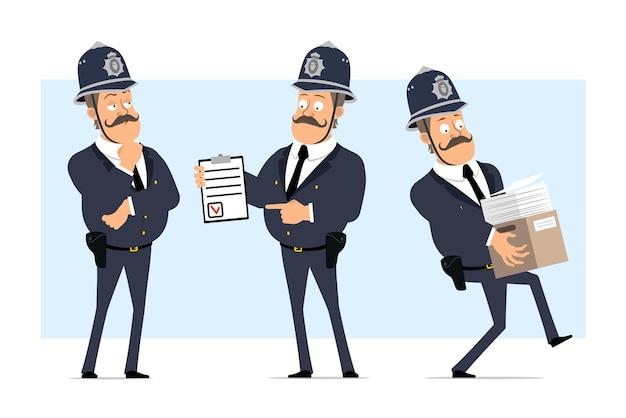 Carattere di poliziotto grasso britannico piatto divertente del fumetto in casco e uniforme. ragazzo che trasporta scatola con documenti e mostra per fare la lista.