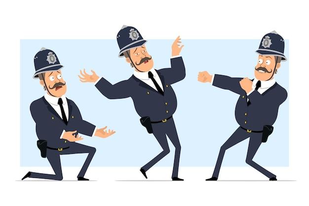 Carattere di poliziotto grasso britannico piatto divertente del fumetto in casco e uniforme. ragazzo che combatte, cade all'indietro e in piedi sul ginocchio.