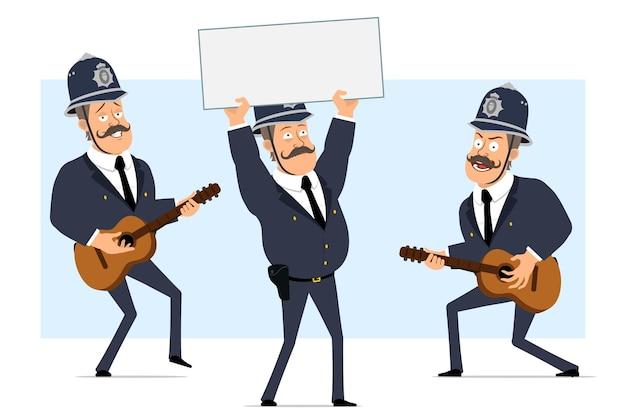 Carattere di poliziotto grasso britannico piatto divertente del fumetto in casco e uniforme. ragazzo che salta, balla e suona la chitarra.