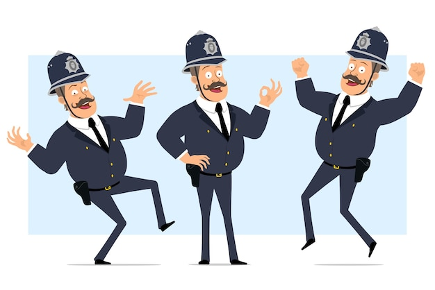 Carattere di poliziotto grasso britannico piatto divertente del fumetto in casco e uniforme. ragazzo che salta, balla e mostra il gesto giusto.