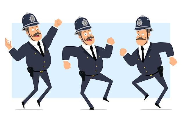 Carattere di poliziotto grasso britannico piatto divertente del fumetto in casco e uniforme. ragazzo che salta e balla.