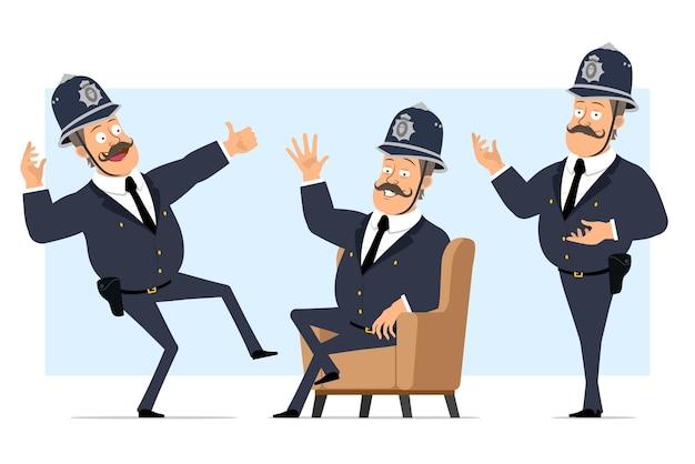 Carattere di poliziotto grasso britannico piatto divertente del fumetto in casco e uniforme. ragazzo che posa, che riposa e che mostra i pollici aumenta il segno.