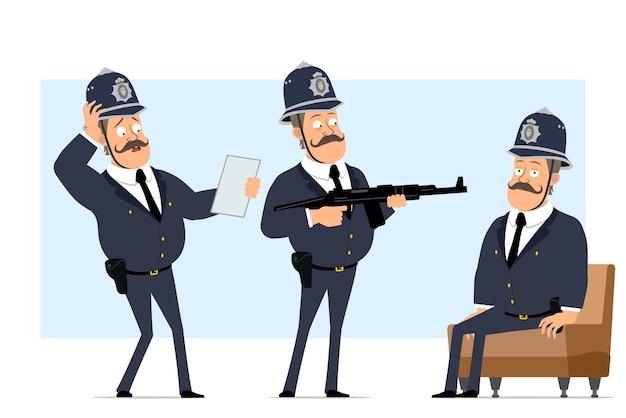 Carattere di poliziotto grasso britannico piatto divertente del fumetto in casco e uniforme. ragazzo che legge il documento e che tiene il fucile automatico.