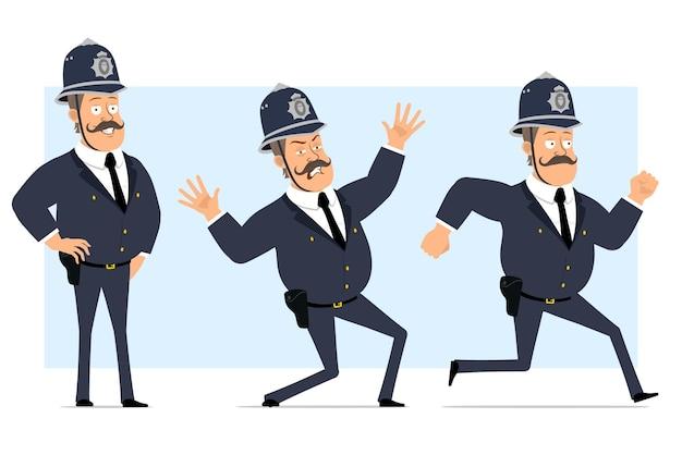 Carattere di poliziotto grasso britannico piatto divertente del fumetto in casco e uniforme. ragazzo spaventato, posa e corre veloce.