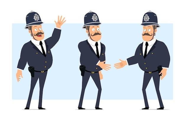 Carattere di poliziotto grasso britannico piatto divertente del fumetto in casco e uniforme. ragazzo che stringe la mano e mostra il gesto di benvenuto.