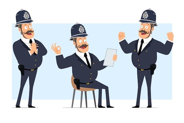 Carattere di poliziotto grasso britannico piatto divertente del fumetto in casco e uniforme. ragazzo che mostra forti muscoli e gesto giusto.