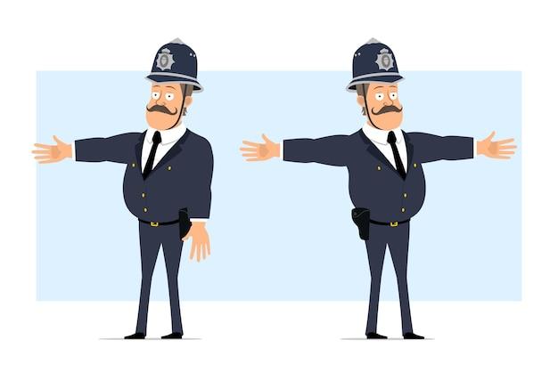 Carattere di poliziotto grasso britannico piatto divertente del fumetto in casco e uniforme. ragazzo che mostra avvertimento, attenzione e gesto di arresto.