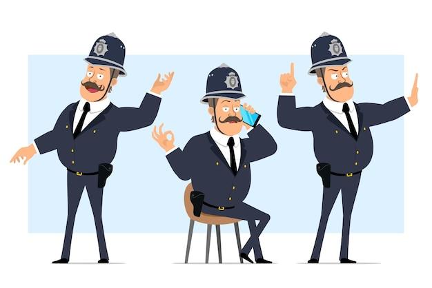 Carattere di poliziotto grasso britannico piatto divertente del fumetto in casco e uniforme. ragazzo che parla sul telefono e che mostra il gesto di arresto.
