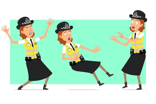 Carattere della donna della polizia britannica piatto divertente del fumetto in giacca gialla con distintivo. ragazza arrabbiata, spaventata e cadendo.