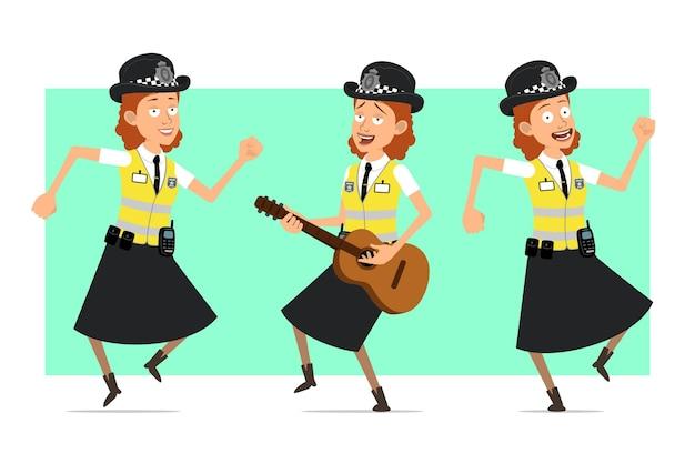 Carattere della donna della polizia britannica piatto divertente del fumetto in giacca gialla con distintivo. ragazza che salta, balla e suona la chitarra.