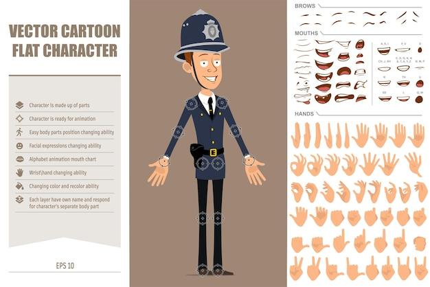 Personaggio di poliziotto britannico piatto divertente del fumetto in uniforme e cappello del casco blu. espressioni del viso, occhi, bocca e mani.