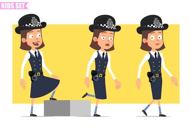 Carattere della ragazza del poliziotto britannico piatto divertente del fumetto in uniforme e cappello del casco. ragazza stanca riuscita che cammina fino al suo obiettivo.