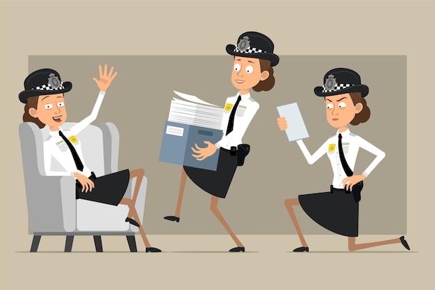 Carattere di donna poliziotto britannico piatto divertente del fumetto in cappello nero e uniforme con distintivo. ragazza che trasporta scatola di carta e nota di lettura. pronto per l'animazione. isolato su sfondo grigio. impostato.