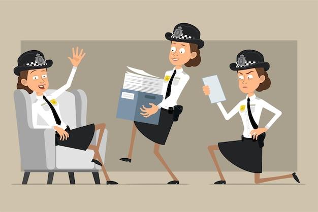 Carattere di donna poliziotto britannico piatto divertente del fumetto in cappello nero e uniforme con distintivo. ragazza che trasporta scatola di carta e nota di lettura.