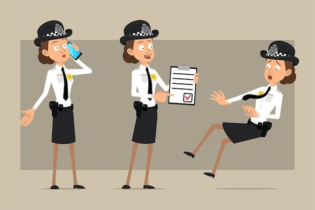 Carattere di donna poliziotto britannico piatto divertente del fumetto in cappello nero e uniforme con distintivo. ragazza che tiene per fare la lista e parlando al telefono. pronto per l'animazione. isolato su sfondo grigio. impostato.