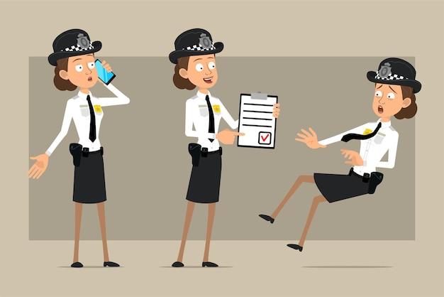 Carattere di donna poliziotto britannico piatto divertente del fumetto in cappello nero e uniforme con distintivo. ragazza che tiene per fare la lista e parlando al telefono.