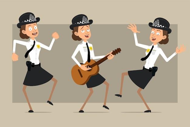 Carattere di donna poliziotto britannico piatto divertente del fumetto in cappello nero e uniforme con distintivo. ragazza che salta, balla e suona la chitarra. pronto per l'animazione. isolato su sfondo grigio. impostato.