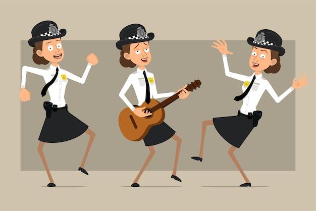 Carattere di donna poliziotto britannico piatto divertente del fumetto in cappello nero e uniforme con distintivo. ragazza che salta, balla e suona la chitarra.