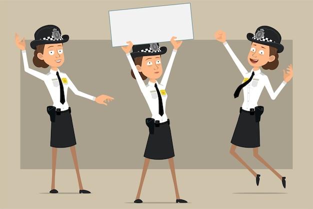 Carattere di donna poliziotto britannico piatto divertente del fumetto in cappello nero e uniforme con distintivo. ragazza che salta e che tiene segno vuoto per il testo. pronto per l'animazione. isolato su sfondo grigio. impostato.