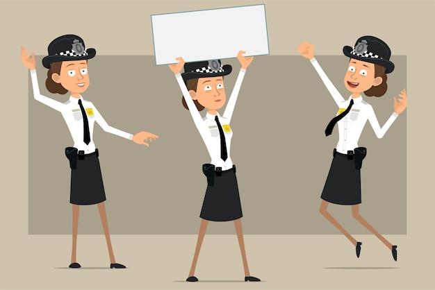 Carattere di donna poliziotto britannico piatto divertente del fumetto in cappello nero e uniforme con distintivo. ragazza che salta e che tiene segno vuoto per testo.