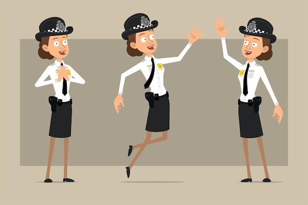 Carattere di donna poliziotto britannico piatto divertente del fumetto in cappello nero e uniforme con distintivo. ragazza che salta e che mostra ciao gesto. pronto per l'animazione. isolato su sfondo grigio. impostato.