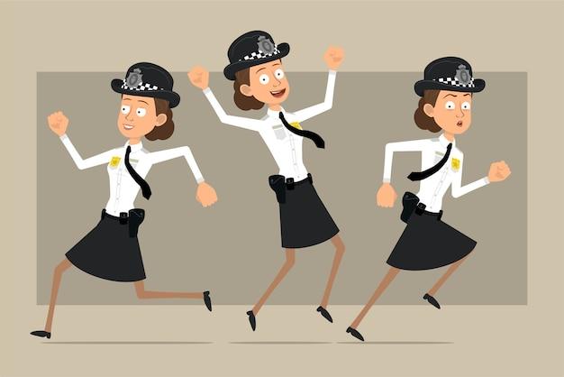 Carattere di donna poliziotto britannico piatto divertente del fumetto in cappello nero e uniforme con distintivo. ragazza che salta e corre in avanti. pronto per l'animazione. isolato su sfondo grigio. impostato.