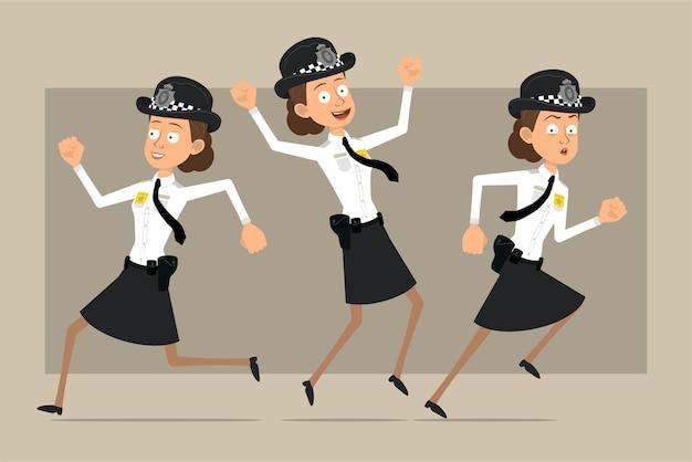 Carattere di donna poliziotto britannico piatto divertente del fumetto in cappello nero e uniforme con distintivo. ragazza che salta e corre in avanti.