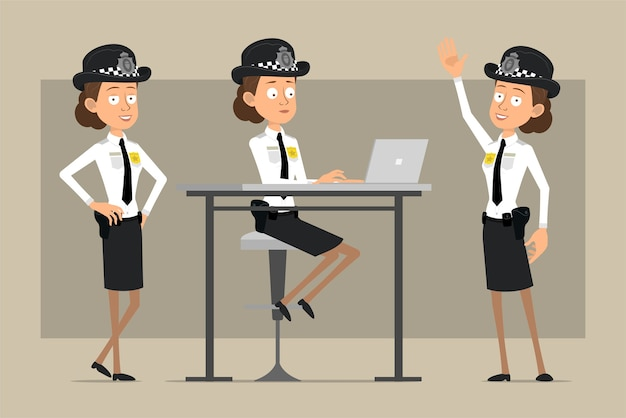 Carattere di donna poliziotto britannico piatto divertente del fumetto in cappello nero e uniforme con distintivo. ragazza in posa e lavora al computer portatile. pronto per l'animazione. isolato su sfondo grigio. impostato.