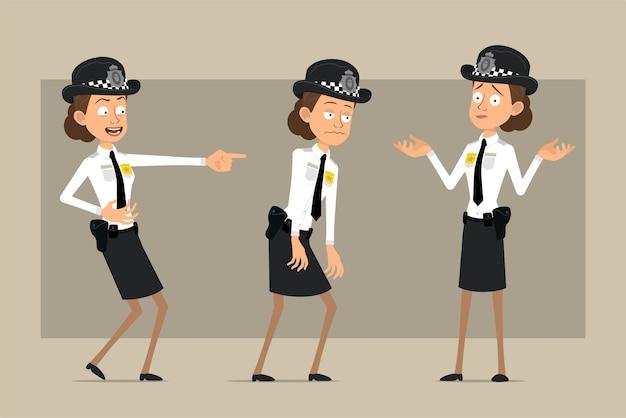 Carattere di donna poliziotto britannico piatto divertente del fumetto in cappello nero e uniforme con distintivo. ragazza triste, stanca, che ride e incomprensione. pronto per l'animazione. isolato su sfondo grigio. impostato.